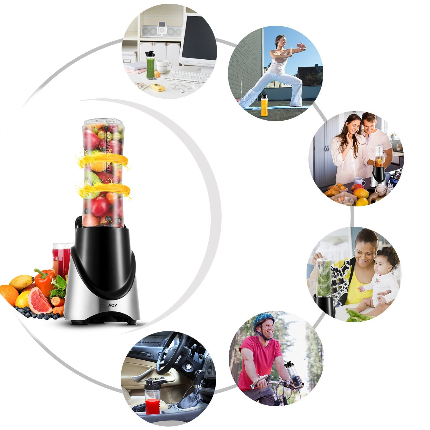 AQV mini Blenders Portable Blender With Travel Cup 300W Smoothie Maker With Stainless Steel 4 Action Blades Certisfied with ROhs/CE